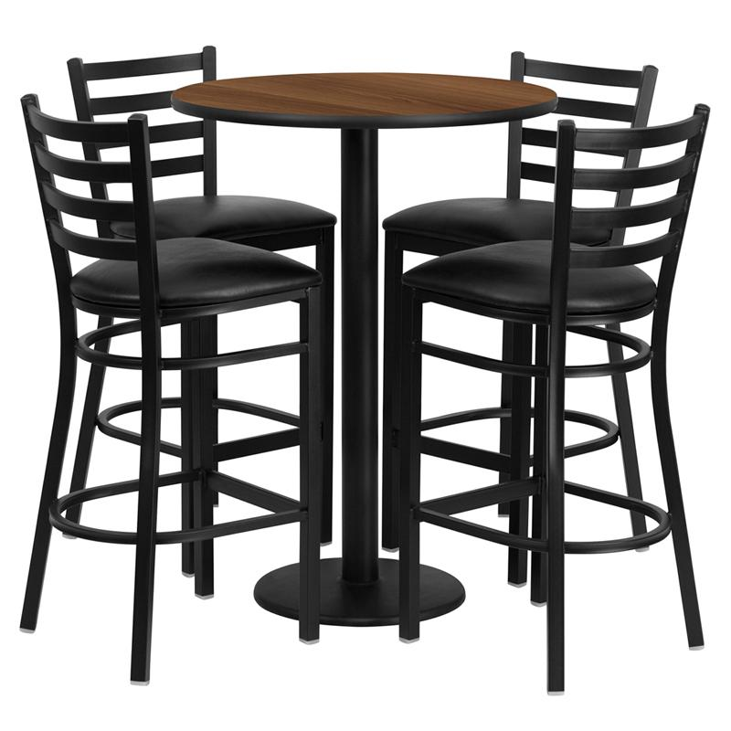 30'' Round Walnut Laminate Table Set with Round Base and 4 Ladder Back Metal Barstools - Black Vinyl Seat. Picture 1