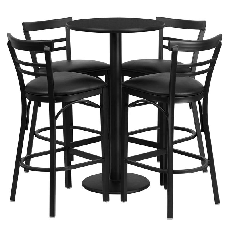 24'' Round Black Laminate Table Set with Round Base and 4 Two-Slat Ladder Back Metal Barstools - Black Vinyl Seat. Picture 1