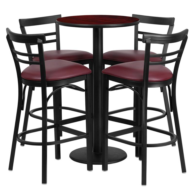 24'' Round Mahogany Laminate Table Set with Round Base and 4 Two-Slat Ladder Back Metal Barstools - Burgundy Vinyl Seat. Picture 1