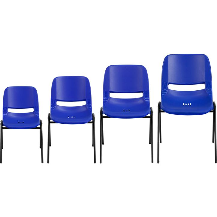 """HERCULES Series 440 lb. Capacity Kid's Navy Ergonomic Shell Stack Chair with Black Frame and 12"""" Seat Height"""