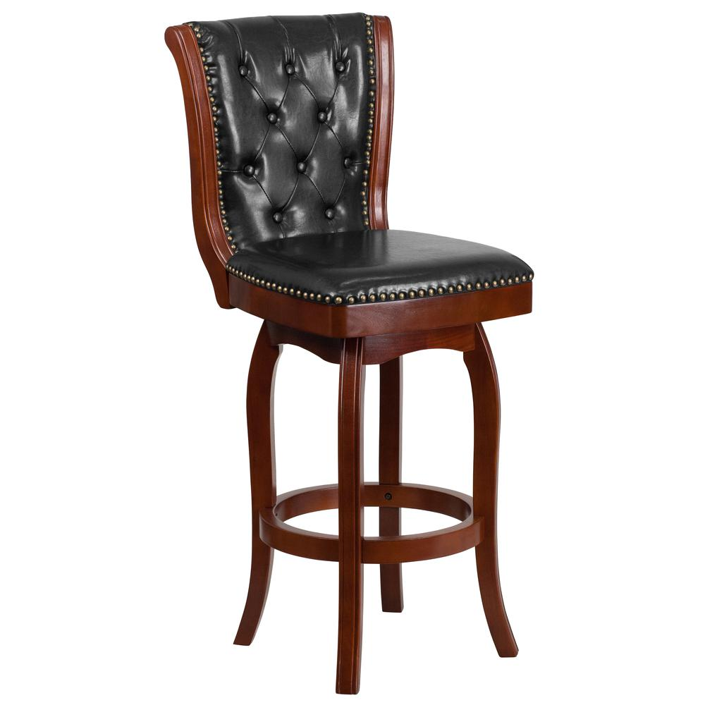 30 High Cherry Wood Barstool With Button Tufted Back And