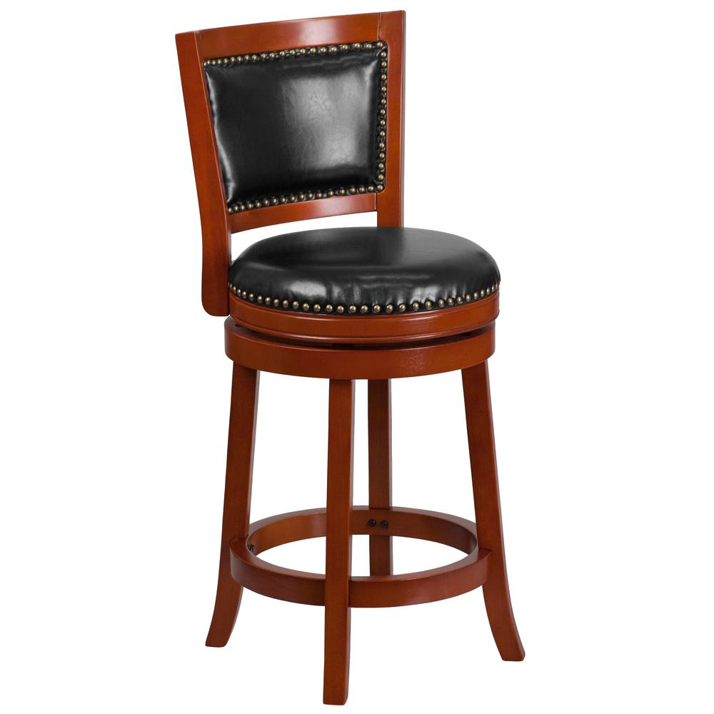 26'' High Light Cherry Wood Counter Height Stool with Open Panel Back and Black LeatherSoft Swivel Seat. Picture 1