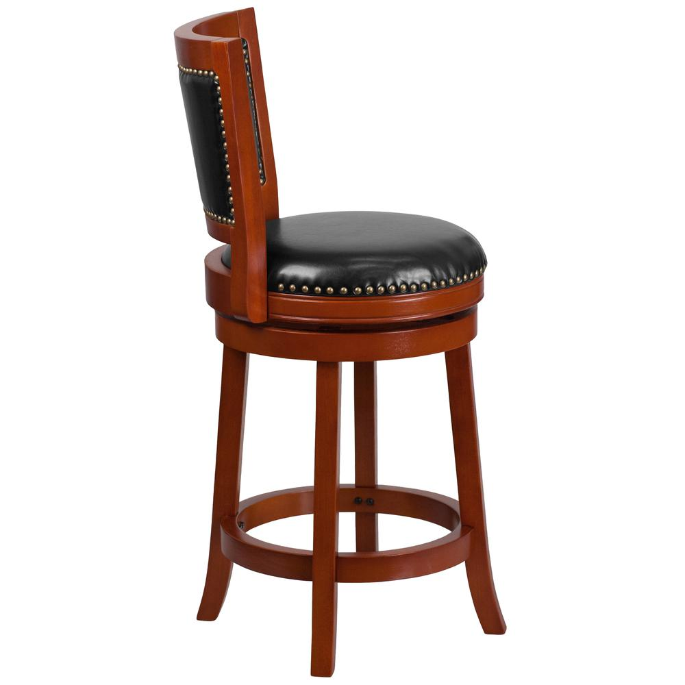 26'' High Light Cherry Wood Counter Height Stool with Open Panel Back and Black LeatherSoft Swivel Seat. Picture 2