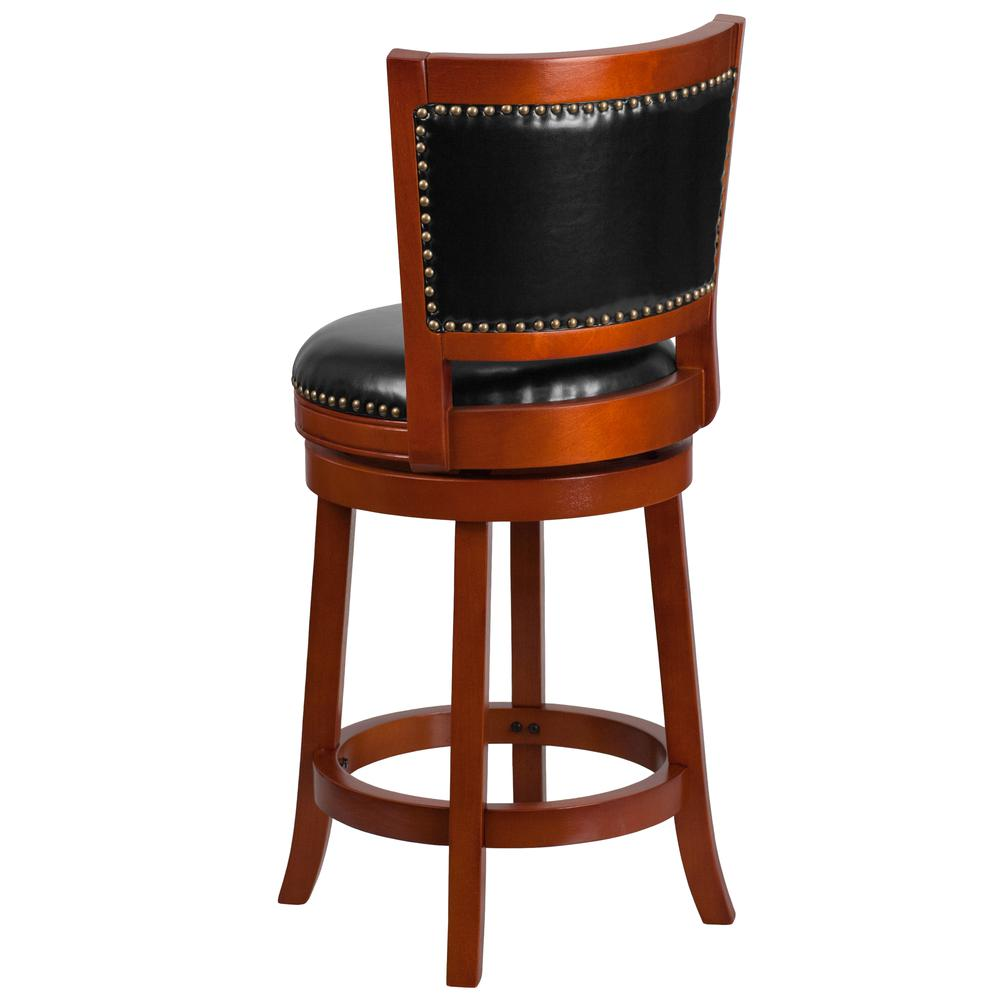26 High Light Cherry Wood Counter Height Stool With Open