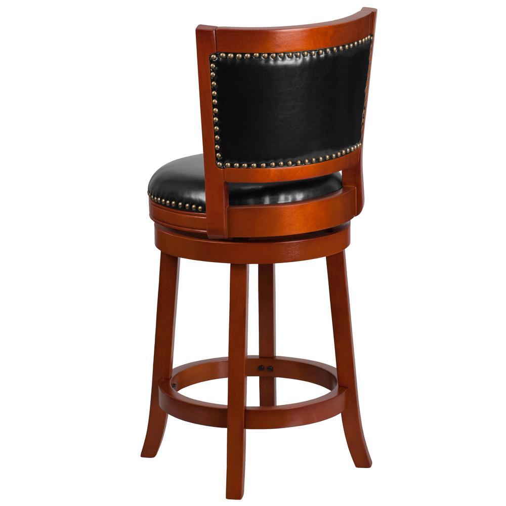 Wooden Revolving Stool Light Brown Swivel Bar Pub Chair: 26'' High Light Cherry Wood Counter Height Stool With Open