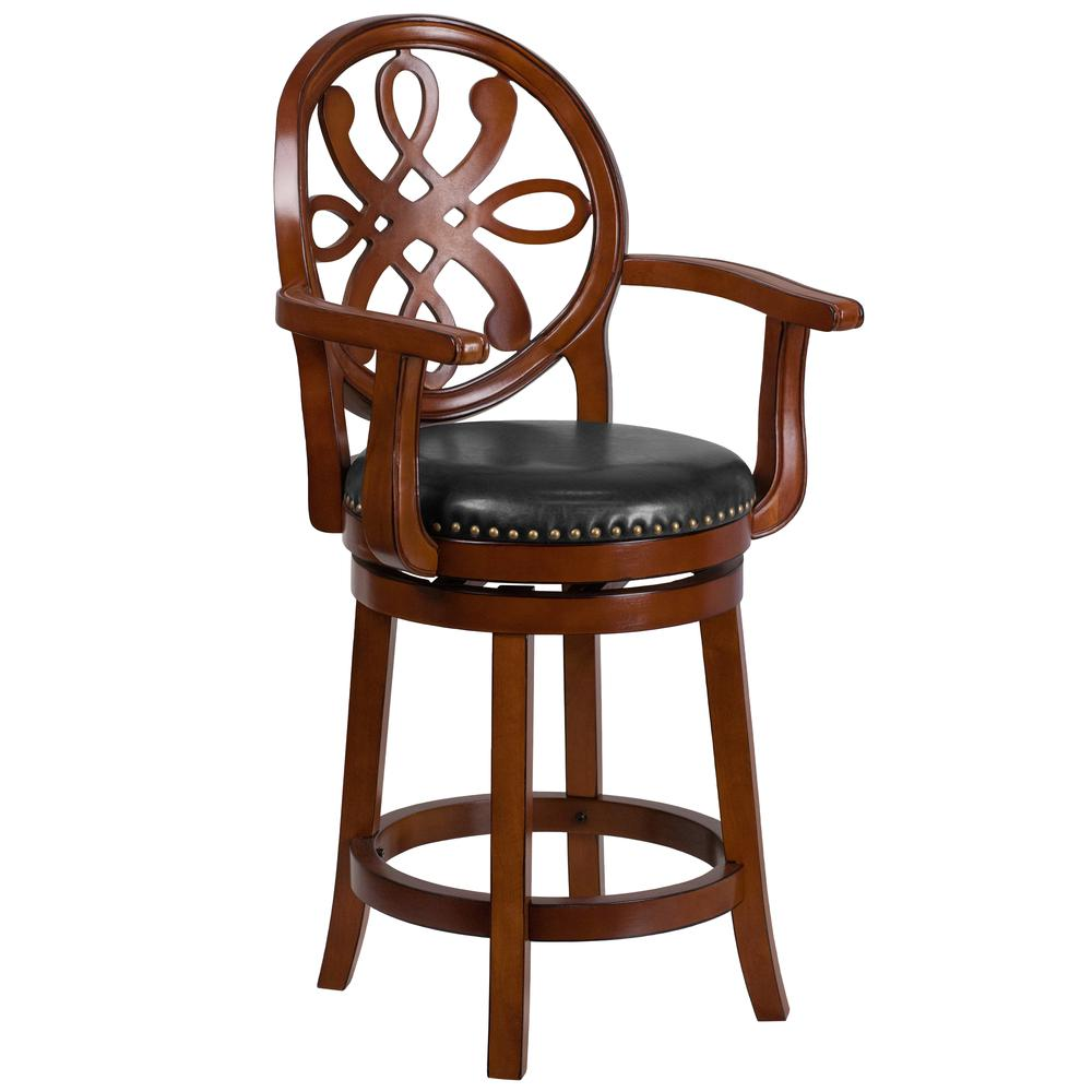 26 High Brandy Wood Counter Height Stool With Arms
