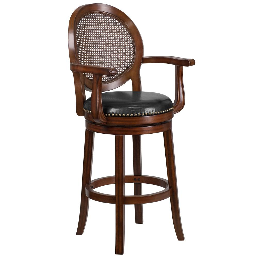 30 High Expresso Wood Barstool With Arms And Black