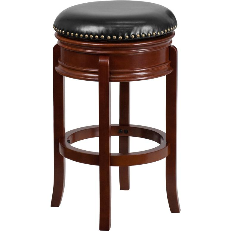 29'' High Backless Light Cherry Wood Barstool with Carved Apron and Black LeatherSoft Swivel Seat. Picture 1