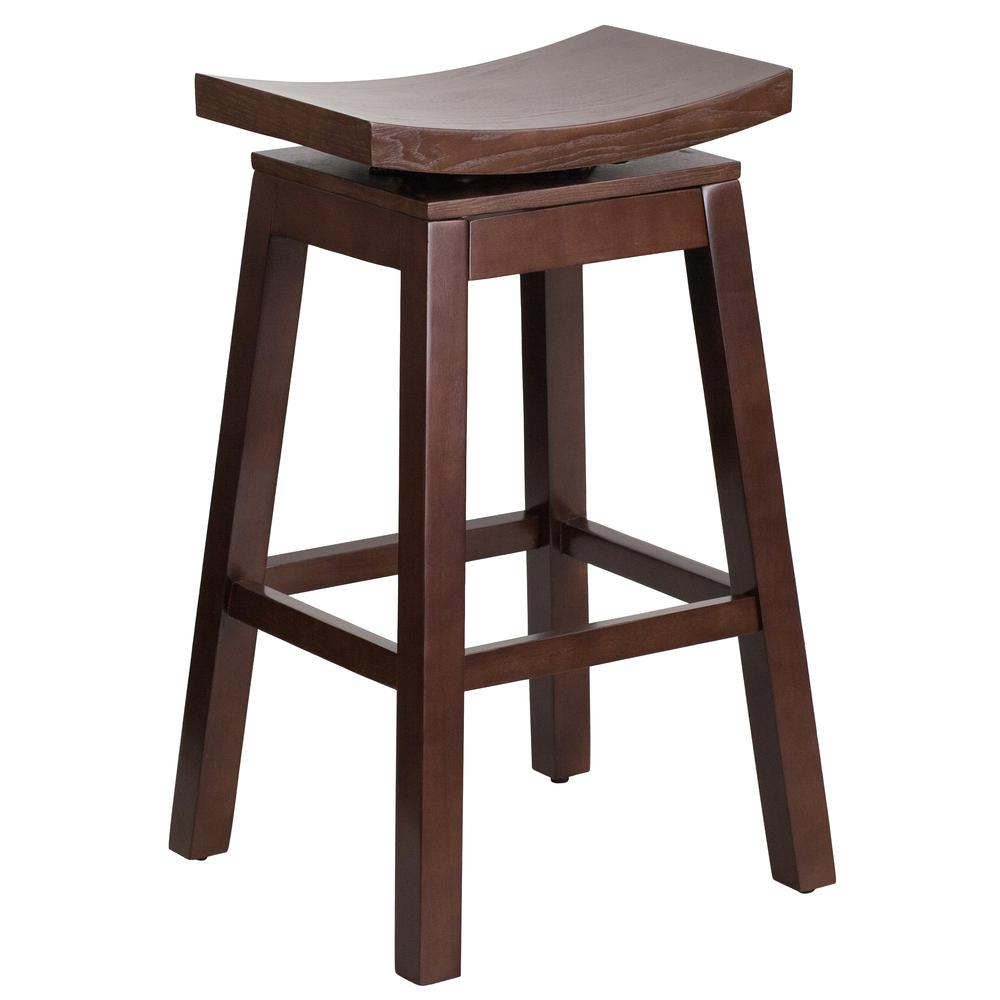 30'' High Saddle Seat Cappuccino Wood Barstool with Auto Swivel Seat Return. Picture 1
