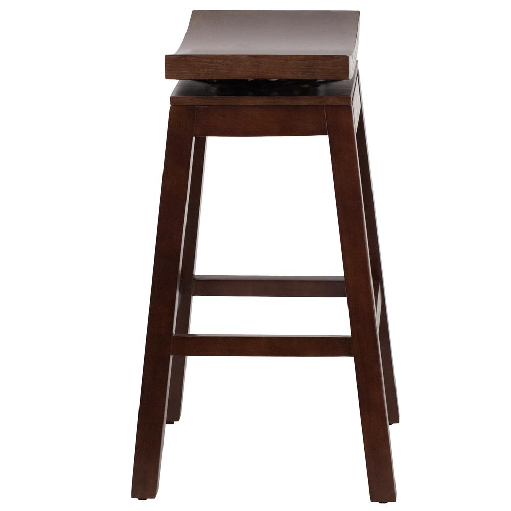 30'' High Saddle Seat Cappuccino Wood Barstool with Auto Swivel Seat Return. Picture 2