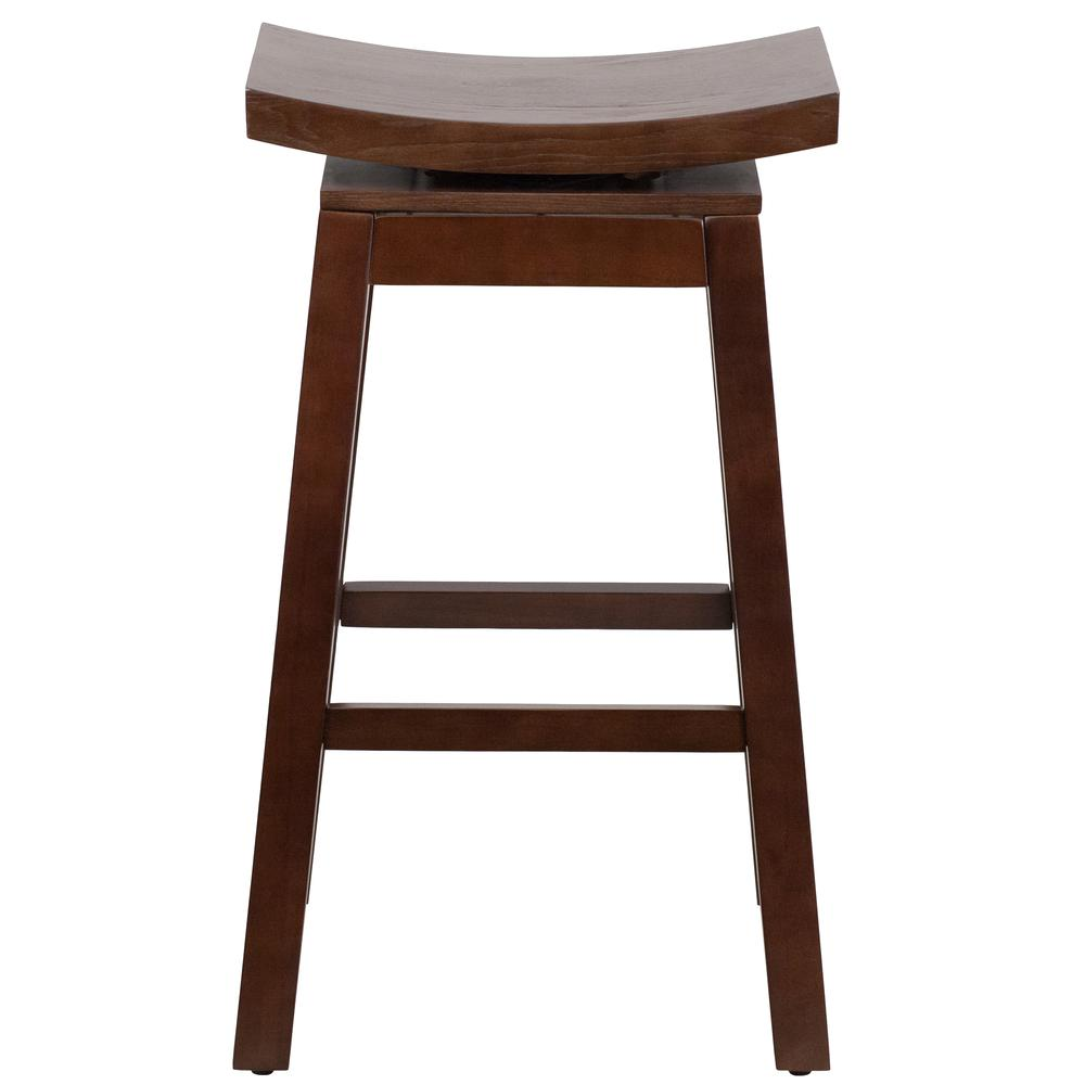 30'' High Saddle Seat Cappuccino Wood Barstool with Auto Swivel Seat Return. Picture 3