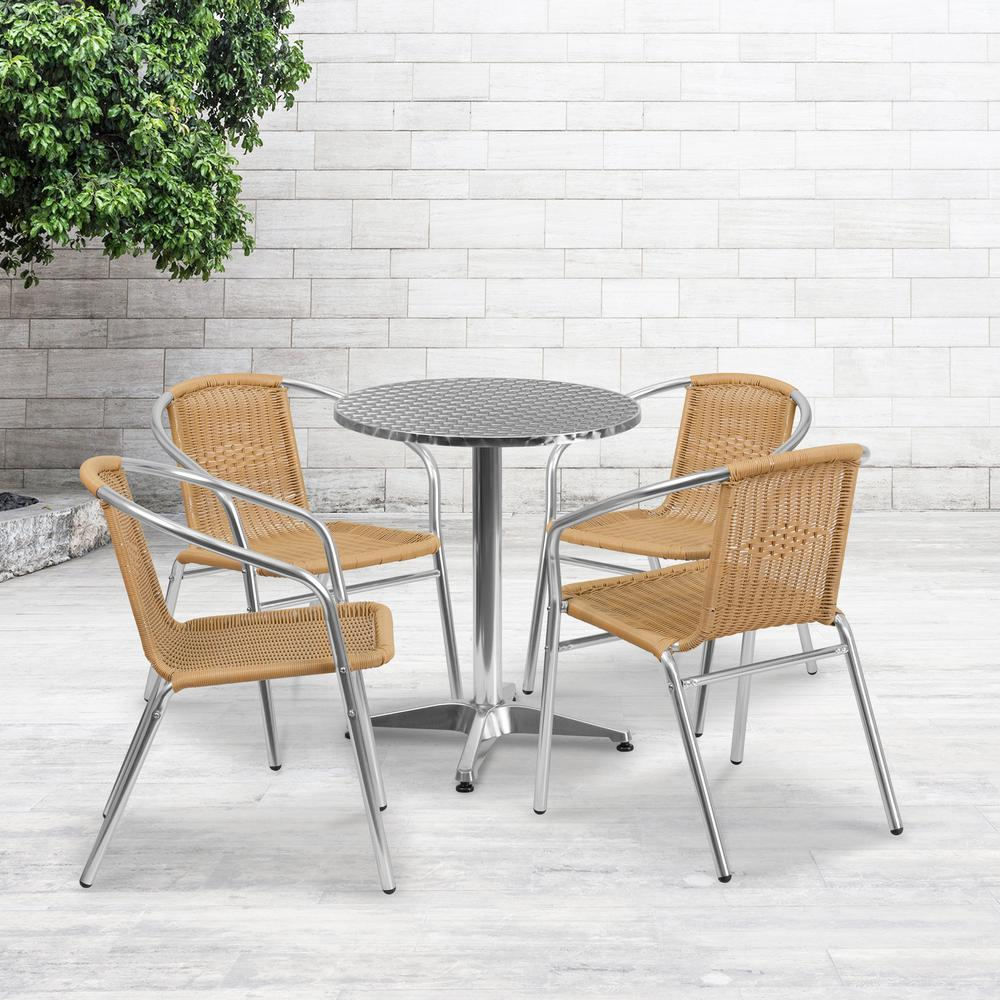 Flash Furniture 23.5 Round Aluminum Indoor-Outdoor Table with Base