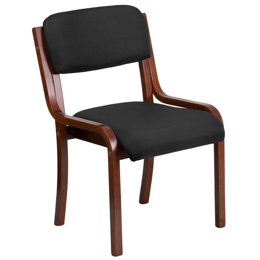 Contemporary Walnut Wood Side Reception Chair with Black Fabric Seat. Picture 1