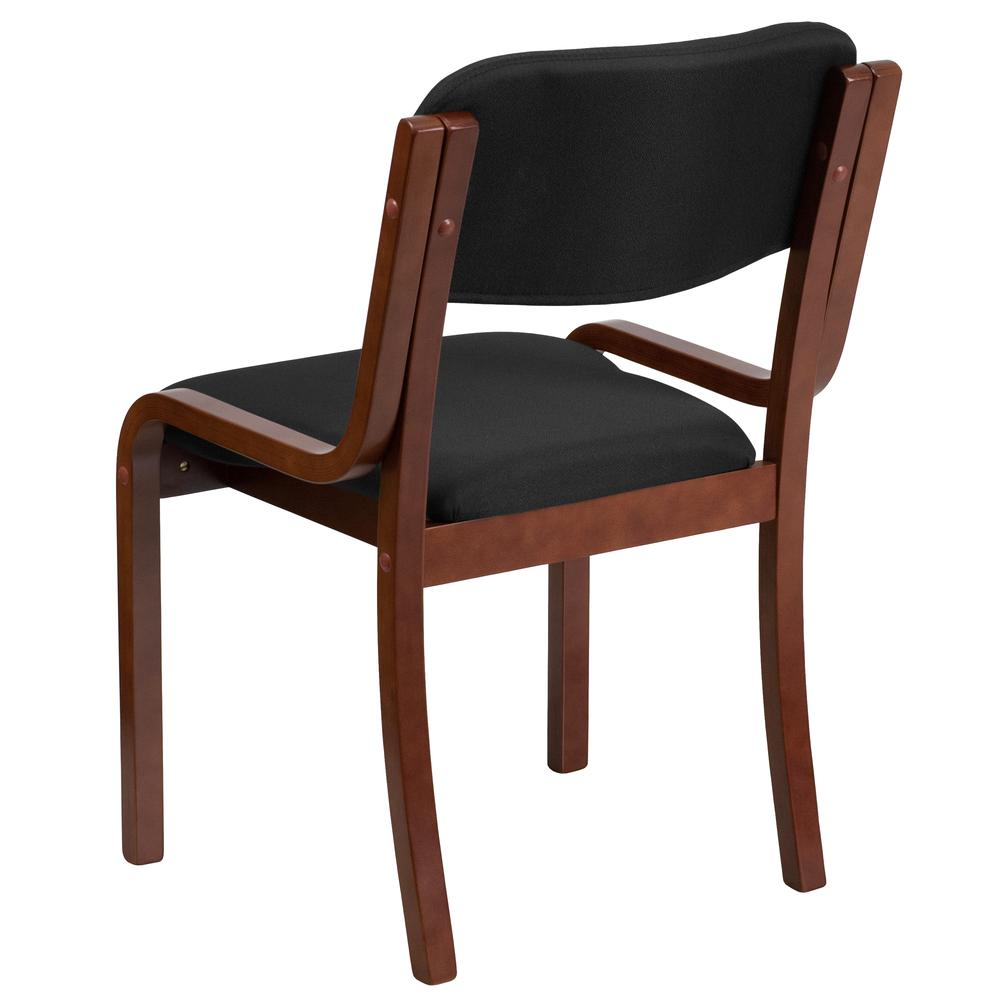 Contemporary Walnut Wood Side Reception Chair with Black Fabric Seat. Picture 2