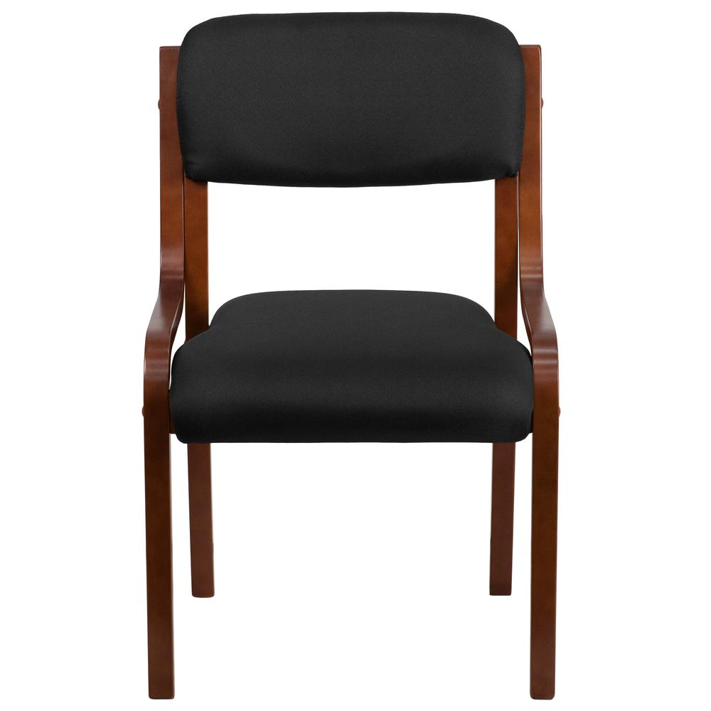 Contemporary Walnut Wood Side Reception Chair with Black Fabric Seat. Picture 4