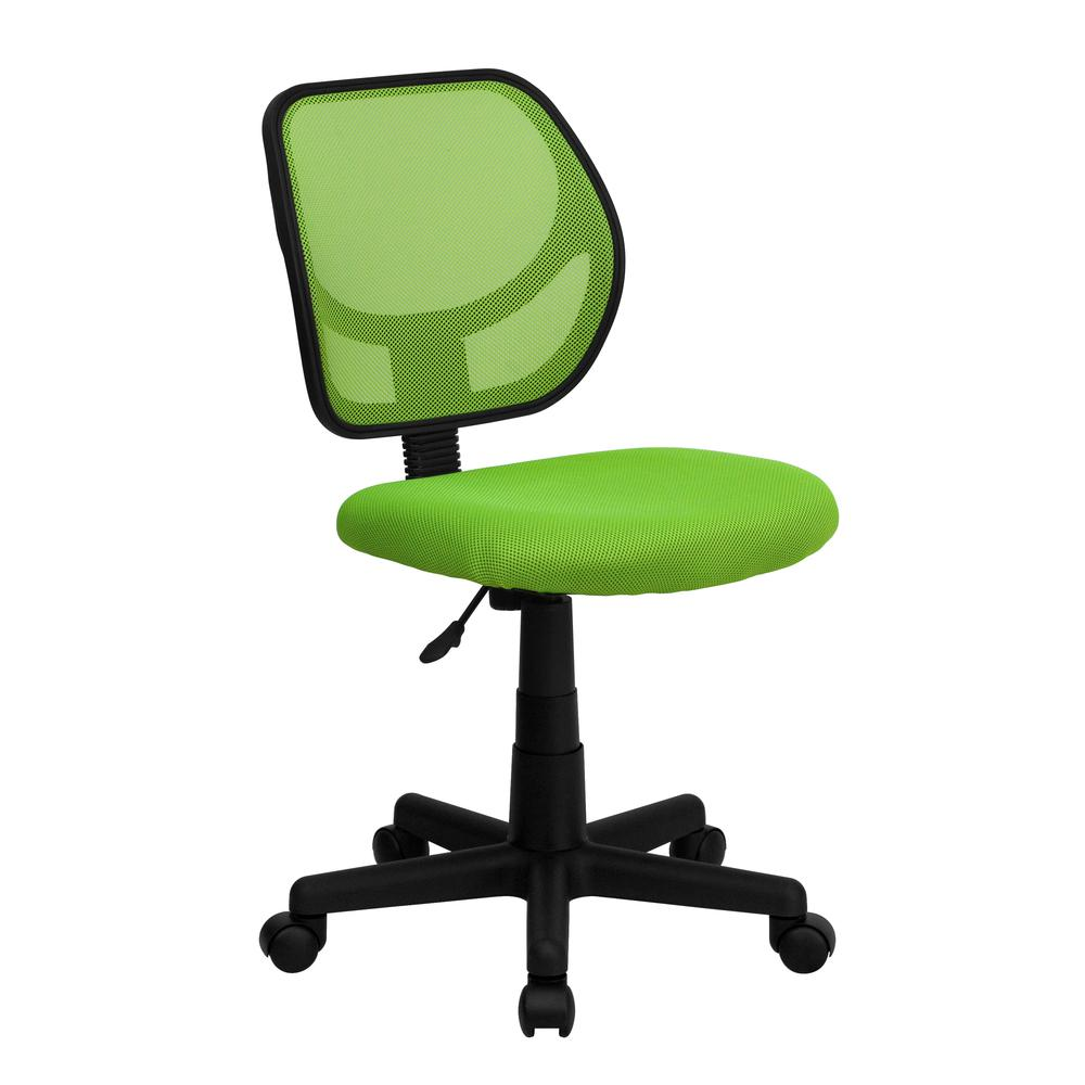 Low Back Green Mesh Swivel Task Office Chair. Picture 1