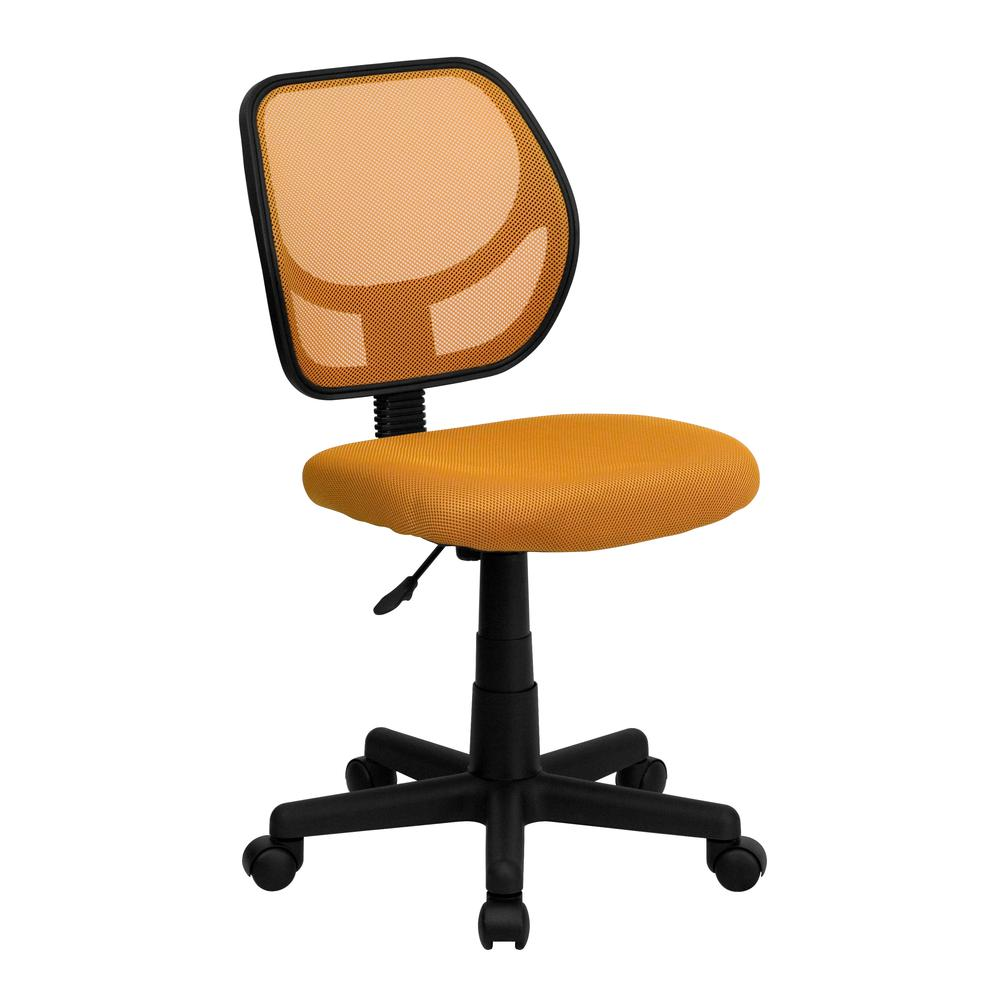Low Back Orange Mesh Swivel Task Office Chair. Picture 1