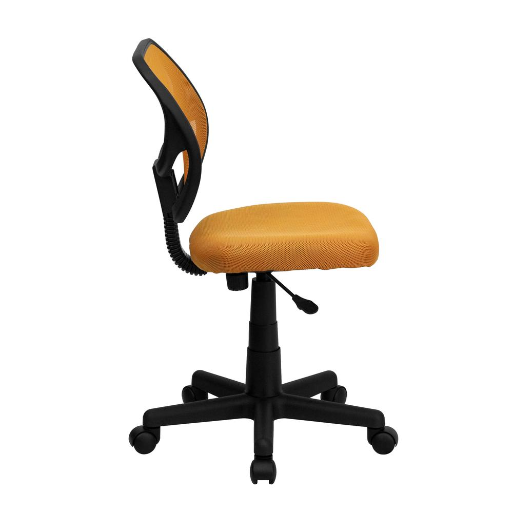 Low Back Orange Mesh Swivel Task Office Chair. Picture 2