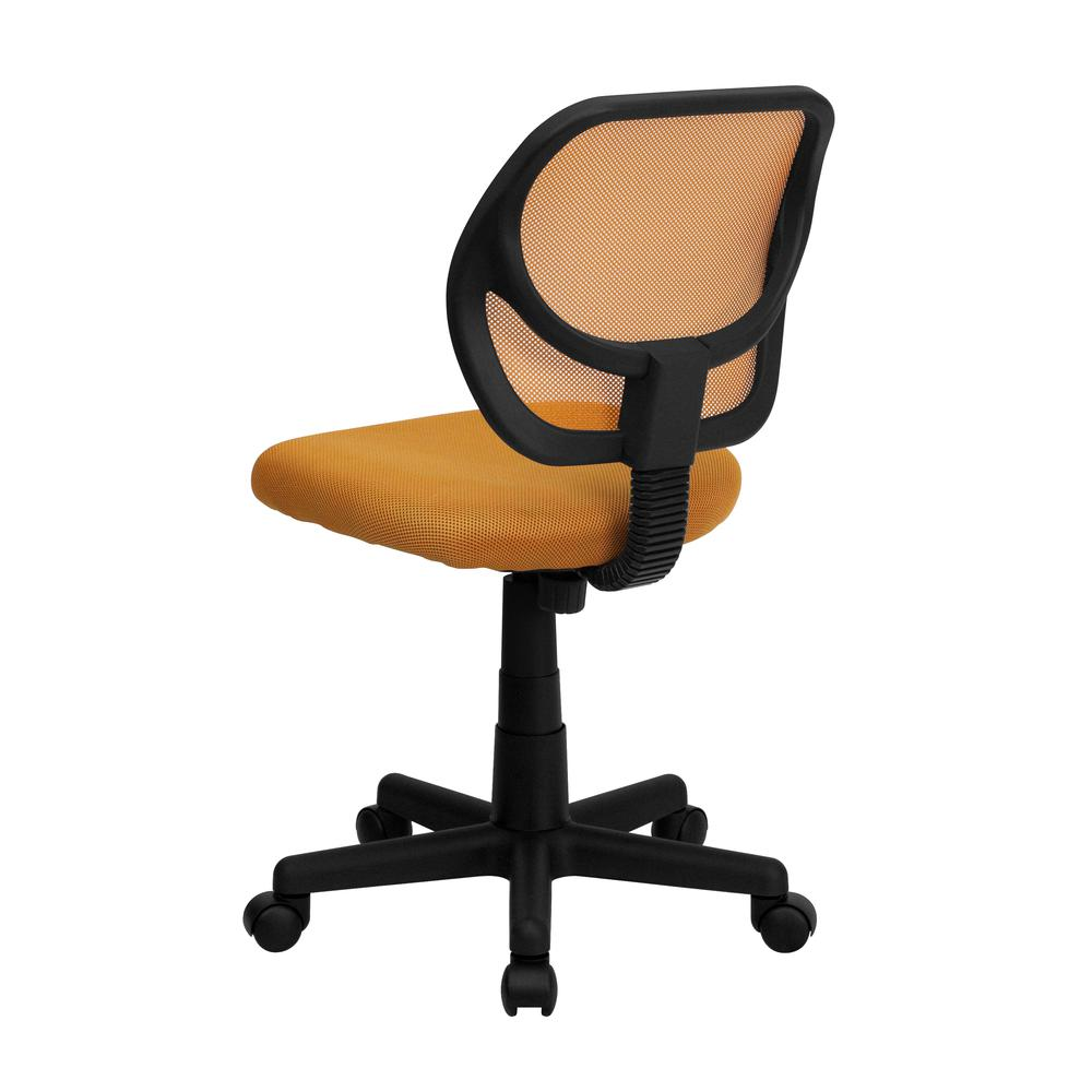 Low Back Orange Mesh Swivel Task Office Chair. Picture 3