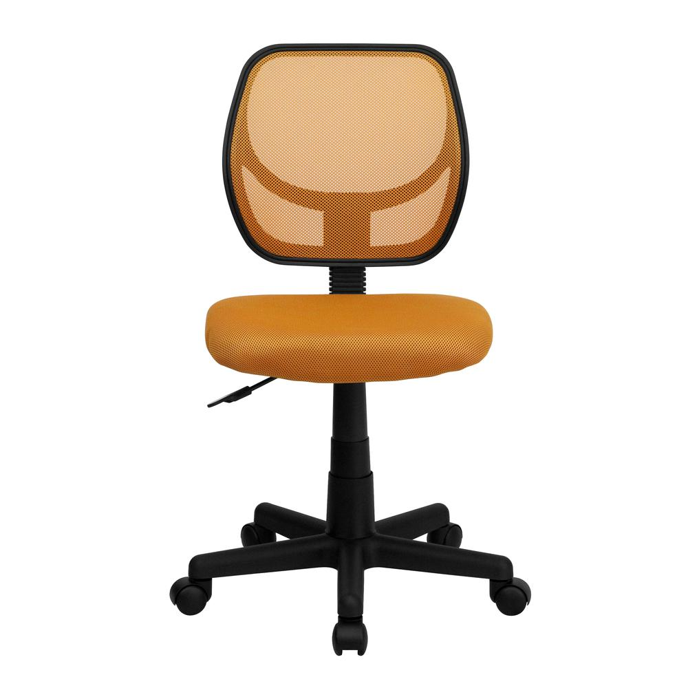 Low Back Orange Mesh Swivel Task Office Chair. Picture 4