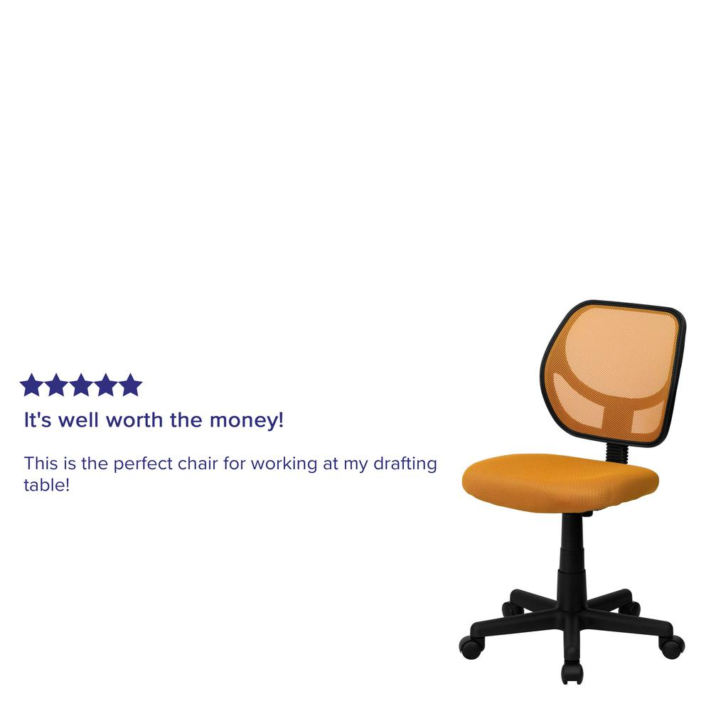 Low Back Orange Mesh Swivel Task Office Chair. Picture 5