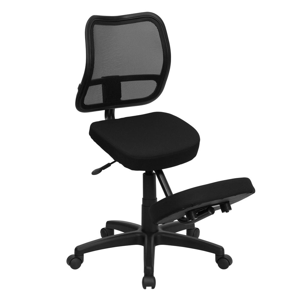 Mobile Ergonomic Kneeling Swivel Task Office Chair with Black Mesh Back and Fabric Seat. Picture 1