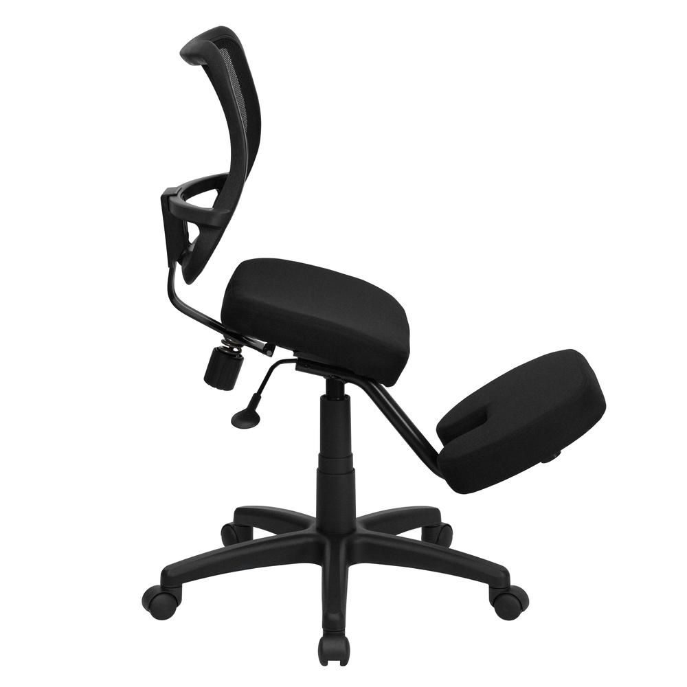Mobile Ergonomic Kneeling Swivel Task Office Chair with Black Mesh Back and Fabric Seat. Picture 2