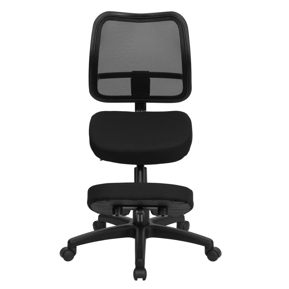 Mobile Ergonomic Kneeling Swivel Task Office Chair with Black Mesh Back and Fabric Seat. Picture 4