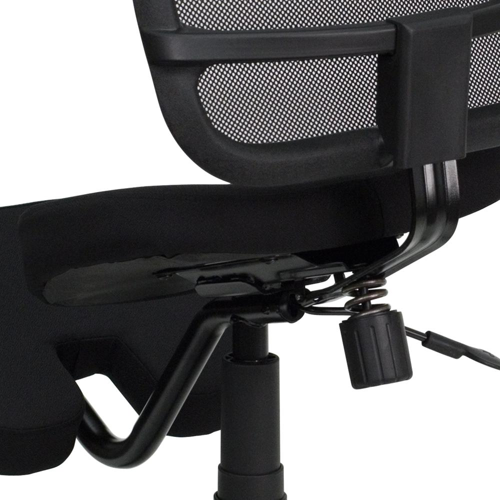 Mobile Ergonomic Kneeling Swivel Task Office Chair with Black Mesh Back and Fabric Seat. Picture 5