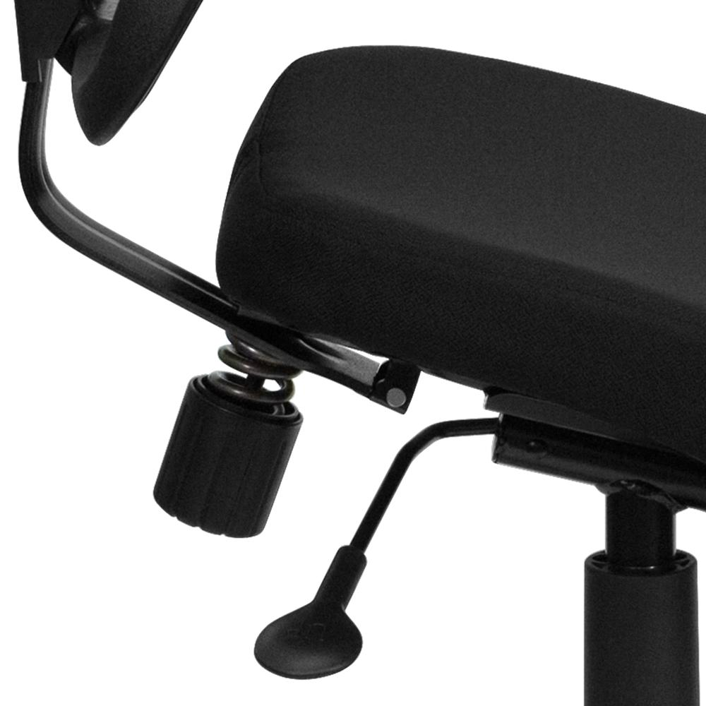Mobile Ergonomic Kneeling Swivel Task Office Chair with Black Mesh Back and Fabric Seat. Picture 6