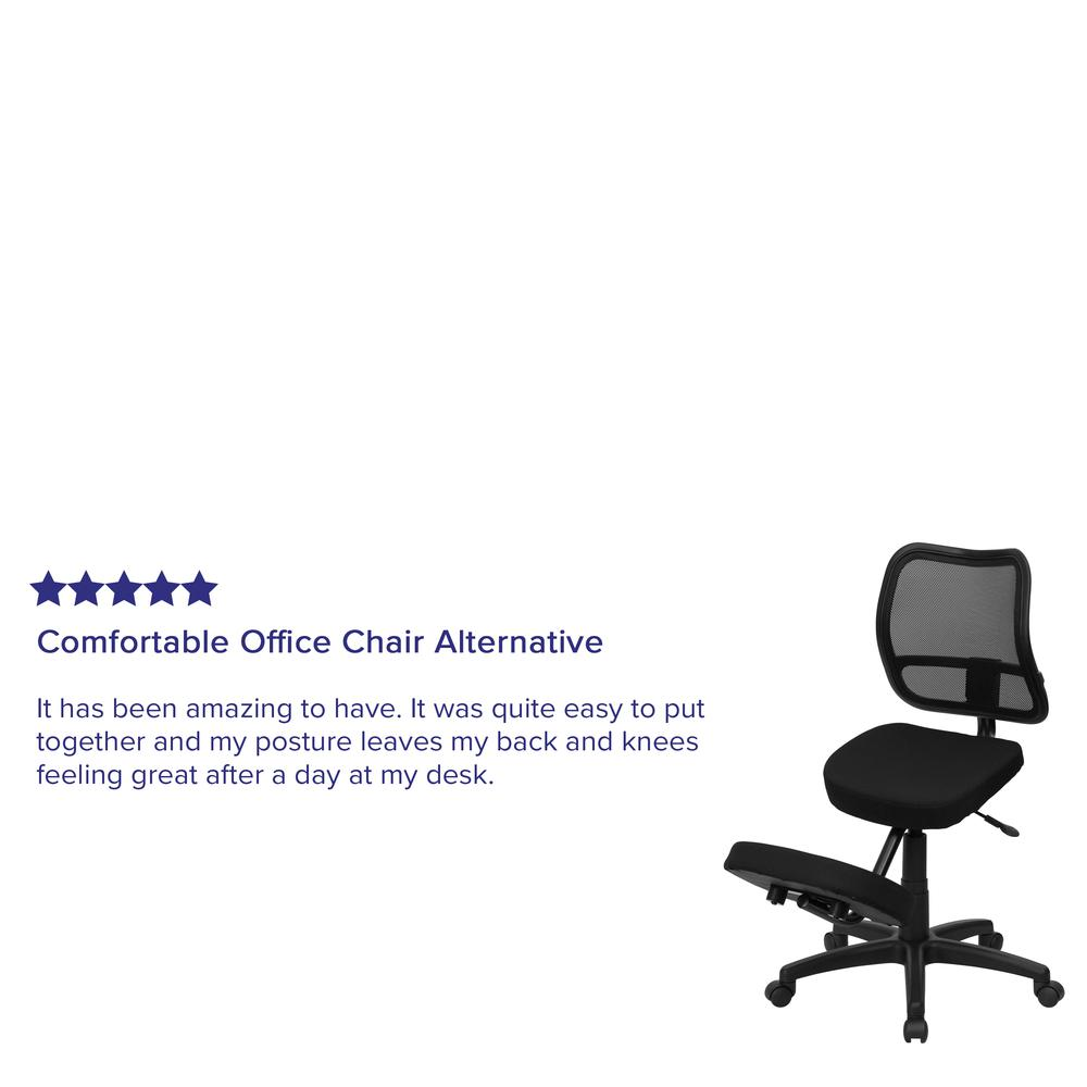 Mobile Ergonomic Kneeling Swivel Task Office Chair with Black Mesh Back and Fabric Seat. Picture 7