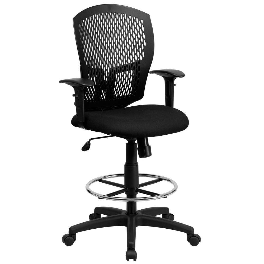 Mid Back Designer Back Drafting Chair With Fabric Seat And