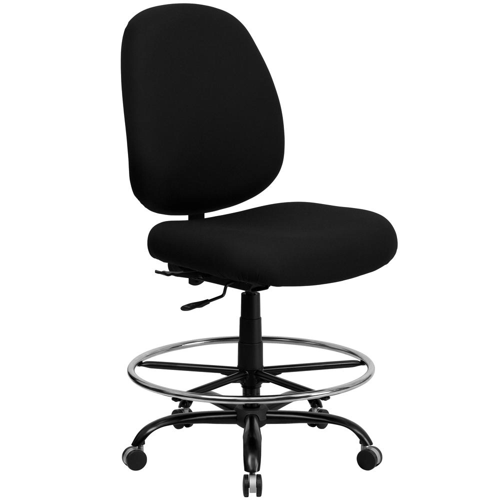 Big & Tall 400 lb. Rated High Back Black Fabric Ergonomic Drafting Chair with Adjustable Back Height. Picture 1