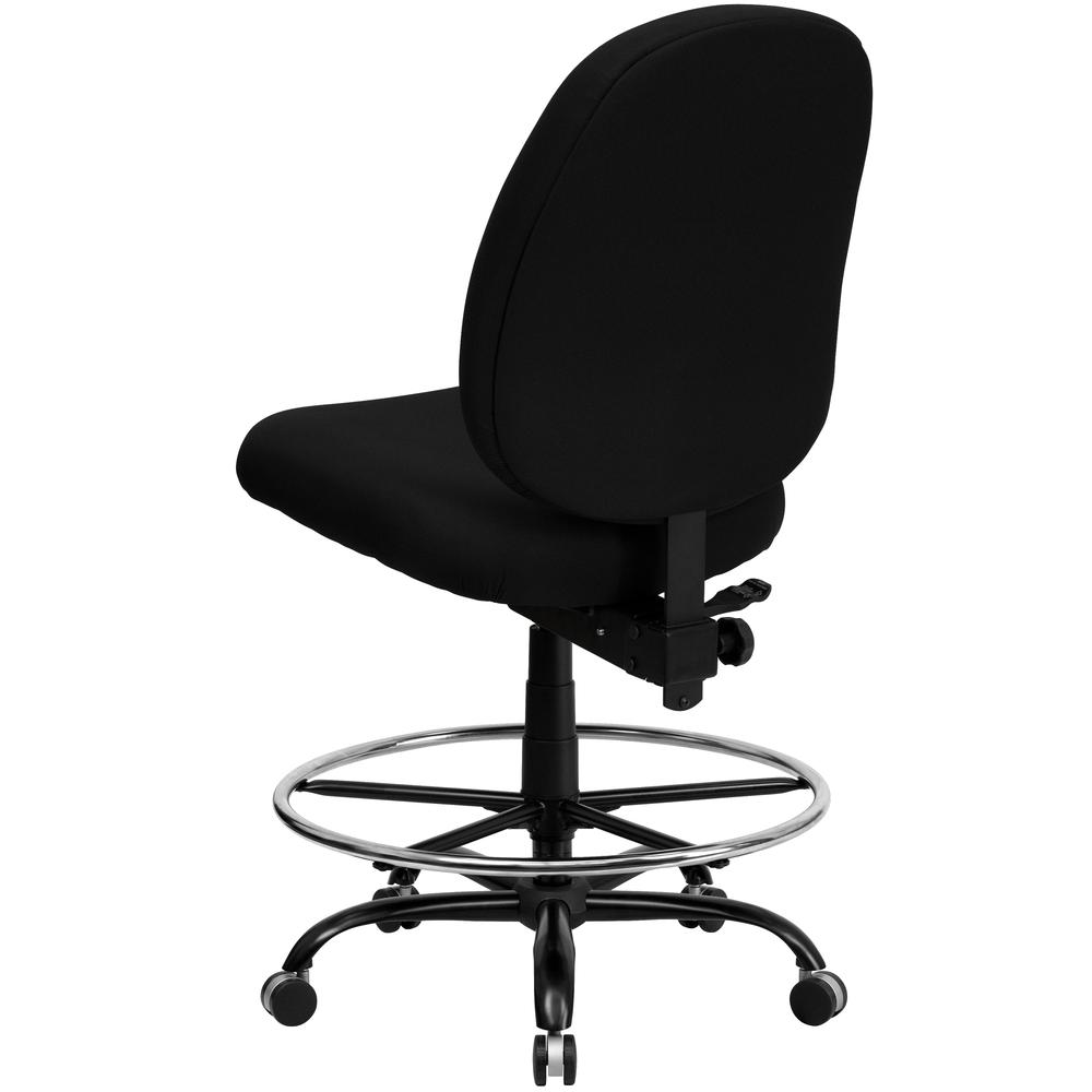 Big & Tall 400 lb. Rated High Back Black Fabric Ergonomic Drafting Chair with Adjustable Back Height. Picture 3