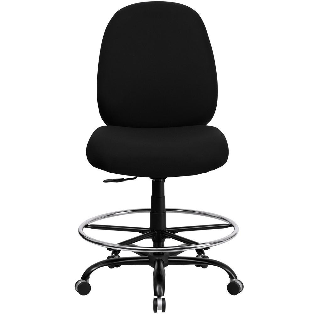 Big & Tall 400 lb. Rated High Back Black Fabric Ergonomic Drafting Chair with Adjustable Back Height. Picture 4