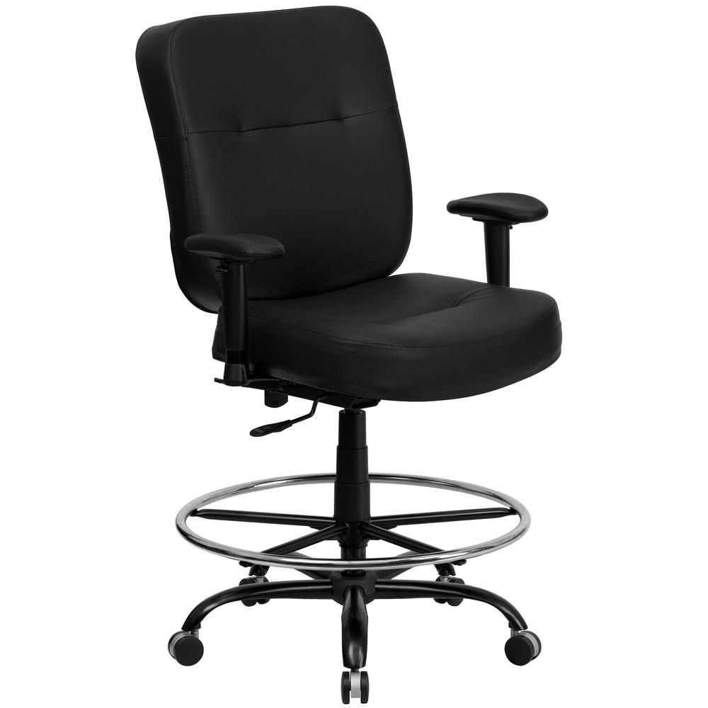 Big & Tall 400 lb. Rated Black LeatherSoft Ergonomic Drafting Chair with Adjustable Arms. Picture 1