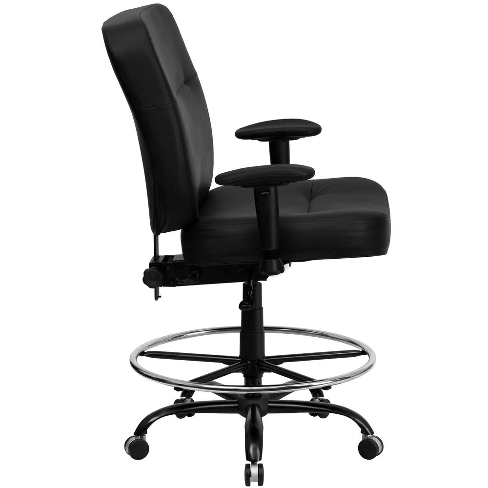 Big & Tall 400 lb. Rated Black LeatherSoft Ergonomic Drafting Chair with Adjustable Arms. Picture 2