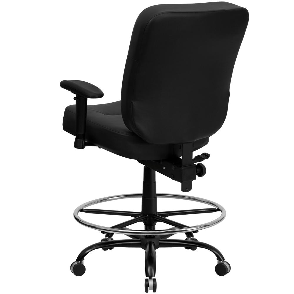Big & Tall 400 lb. Rated Black LeatherSoft Ergonomic Drafting Chair with Adjustable Arms. Picture 3