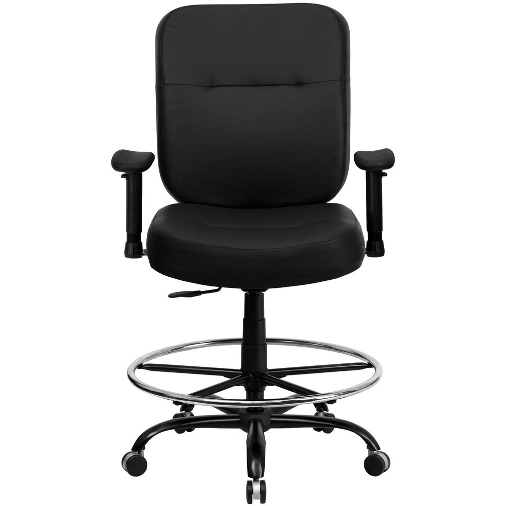 Big & Tall 400 lb. Rated Black LeatherSoft Ergonomic Drafting Chair with Adjustable Arms. Picture 4