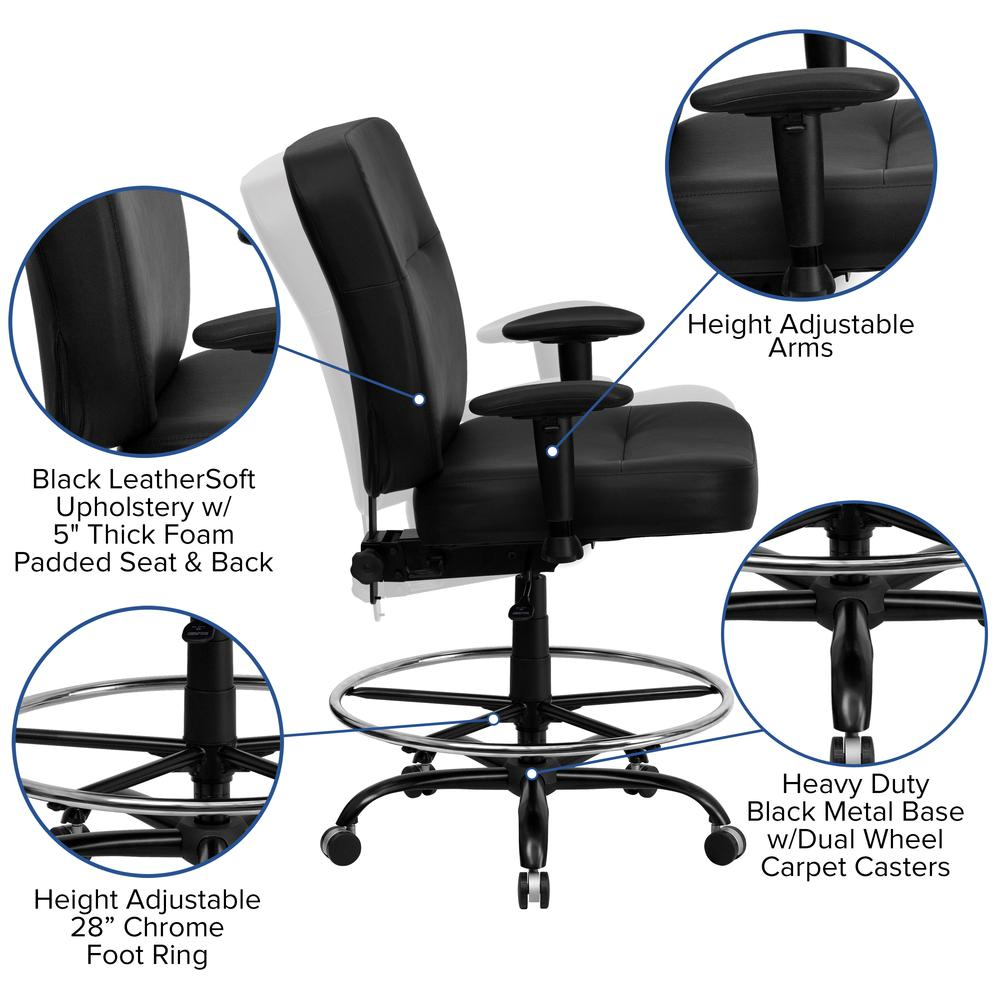 Big & Tall 400 lb. Rated Black LeatherSoft Ergonomic Drafting Chair with Adjustable Arms. Picture 5