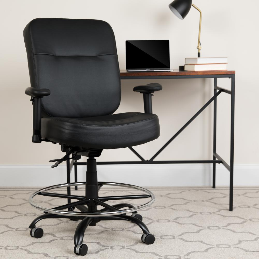 Big & Tall 400 lb. Rated Black LeatherSoft Ergonomic Drafting Chair with Adjustable Arms. Picture 6