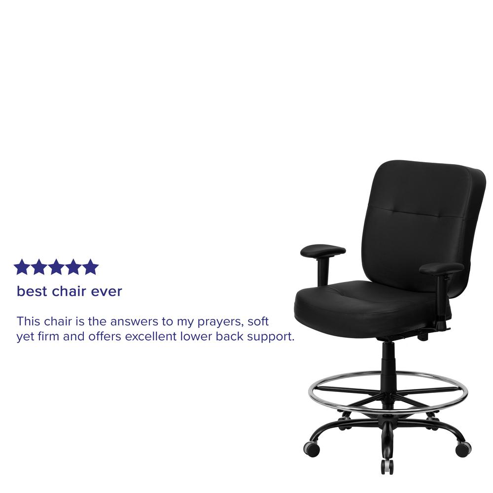 Big & Tall 400 lb. Rated Black LeatherSoft Ergonomic Drafting Chair with Adjustable Arms. Picture 7