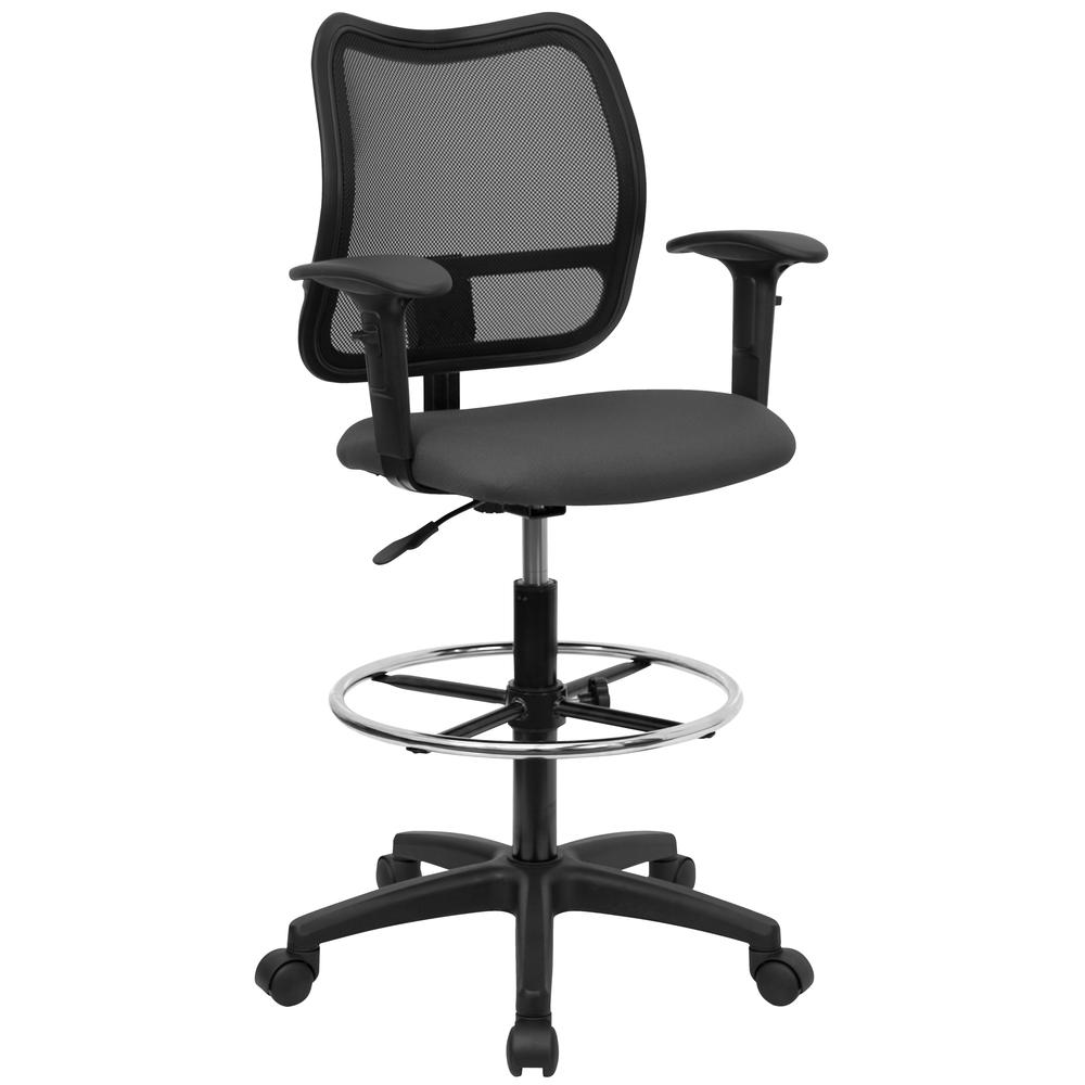 Mid-Back Gray Mesh Drafting Chair with Adjustable Arms. Picture 1