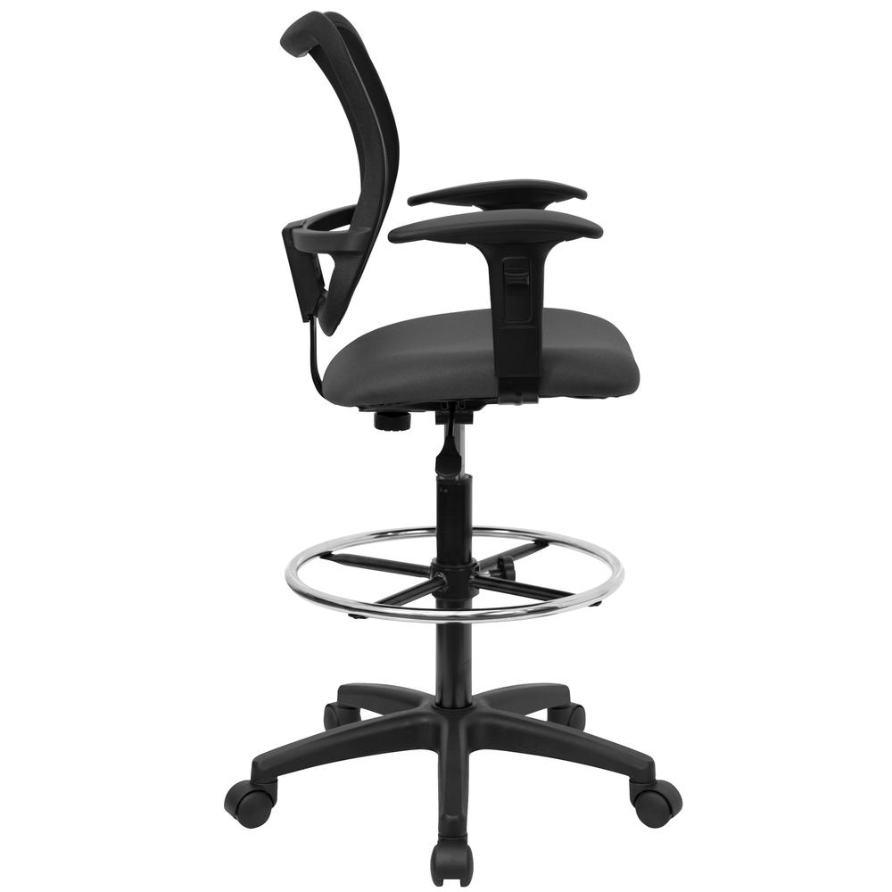 Mid-Back Gray Mesh Drafting Chair with Adjustable Arms. Picture 2