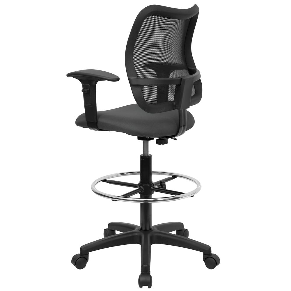 Mid-Back Gray Mesh Drafting Chair with Adjustable Arms. Picture 3