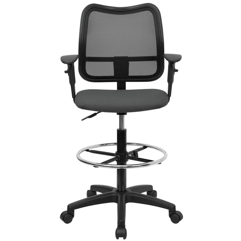 Mid-Back Gray Mesh Drafting Chair with Adjustable Arms. Picture 4