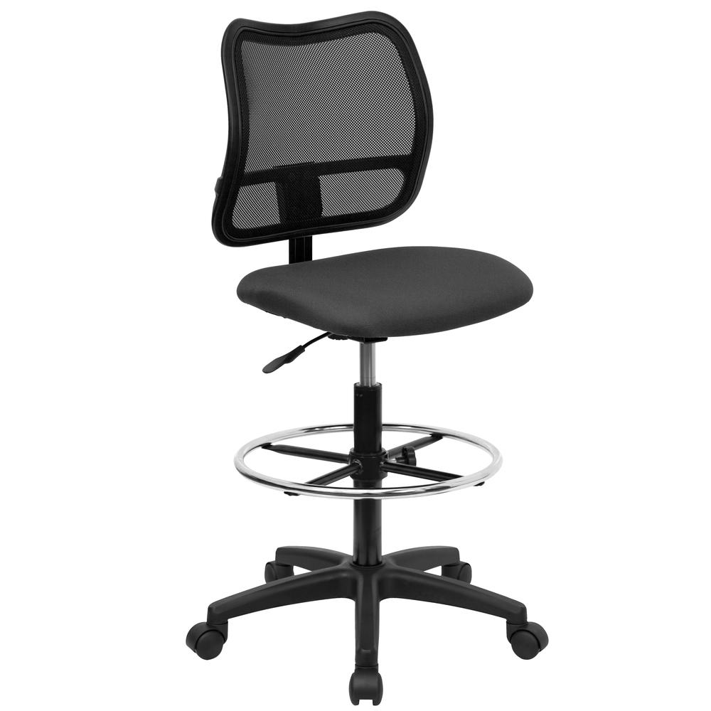 Mid-Back Gray Mesh Drafting Chair. Picture 1