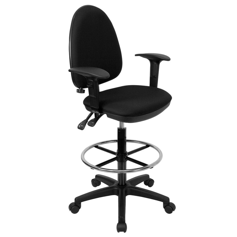 Mid-Back Black Fabric Multifunction Ergonomic Drafting Chair with Adjustable Lumbar Support and Adjustable Arms. Picture 1