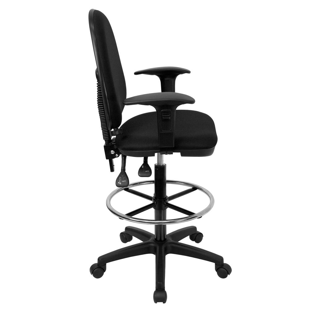 Mid-Back Black Fabric Multifunction Ergonomic Drafting Chair with Adjustable Lumbar Support and Adjustable Arms. Picture 2