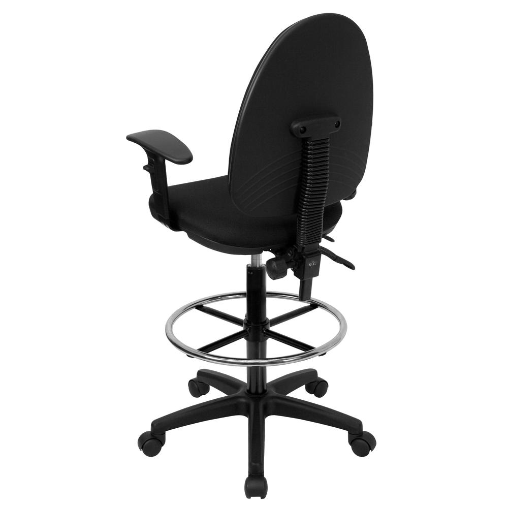 Mid-Back Black Fabric Multifunction Ergonomic Drafting Chair with Adjustable Lumbar Support and Adjustable Arms. Picture 3